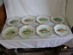 8 Antique Signed Duva P. Limoges Fish Plates Coronet France 8.75 Collectible