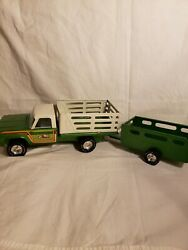 Vintage Nylint Toys Pressed Steel Green Farm Truck W/trailer Made In Usa 1960s
