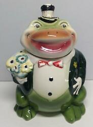 Vintage 1950and039s Starnes Frog Cookie Jar Froggie Goes A Courtin Frog Tuxedo Frog