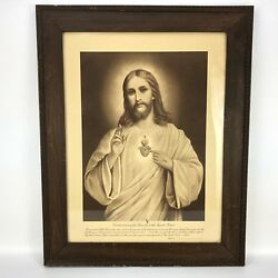 Antique Print Consecration Of The Family Sacred Heart Of Jesus Framed Vintage