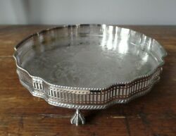 Vintage Silver Plated On Copper Gallery Tray Pierced And Chased Claw And Ball Feet