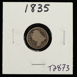1835 H10c Capped Bust Silver Half Dime - Value Coin - Good Dets - Sku-t2873