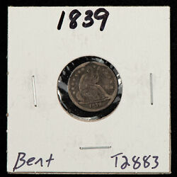 1839 H10c Seated Liberty Silver Half Dime - Value Coin - Vf Dets - Sku-t2883