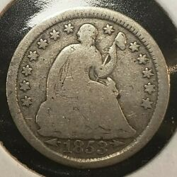 1853 H10c Seated Liberty Silver Half Dime - Arrows - Value Coin - Good+ - T2886