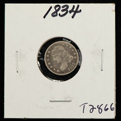 1834 H10c Capped Bust Silver Half Dime - Value Coin - Vg Dets - Sku-t2866