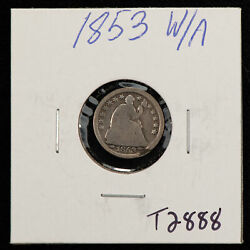 1853 H10c Seated Liberty Half Dime - Arrows - Value Coin - G/vg Dets - Sku-t2888