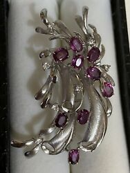 Vintage 14ct White Solid Gold Diamonds And Rubies Brooch