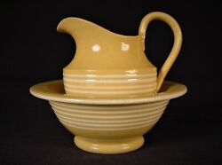 Very Rare Antique 1800s White Band Miniature Pitcher And Bowl Set Yellow Ware Mint