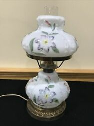Antique Consolidated Glass Large Cosmos Oil Lamp Electrified Milk Glass Flowers