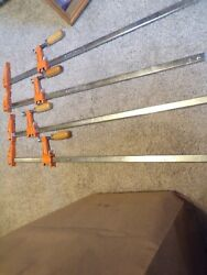 Lot Of 4 Jorgensen 3724 Vintage Bar Clamps Tools Woodworking Usa