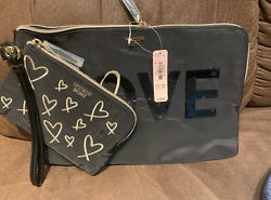 Victoria#x27;s Secret Love 2 Pc Gold And Black Wristlet Clutch Bags NEW WITH TAGS $18.99
