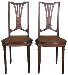 2 Antique French Louis Xvi Solid Walnut Caned Side Chairs Brass Ormolu Pair