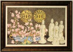 Very Large Original Gouache By Ben Black Gladioli, Butterflies And Figurines