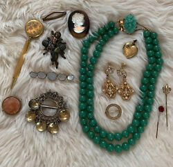 Antique And Vintage Jewelry Parts And Pieces Lot Cameo Solje Brooch Necklace