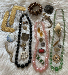 Vintage And Antique Jewelry And Parts And Pieces Lot Necklaces Pins Brooch Moonglow