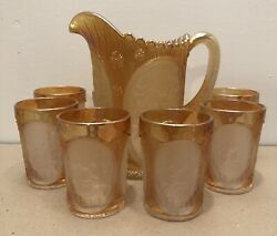 Imperial Glass Marigold Carnival Windmill Water Pitcher And 6 Tumbler Set