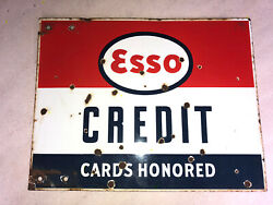 Vintage Esso Credit Card Honored Porcelain Sign Gas Oil Old Antique Double Sided