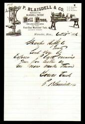 1876 Worcester Ma - P Blaisdell And Co - Sharps Rifle - Superb -letter Head Rare