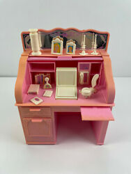 Vintage Barbie Sweet Roses Pink Roll Top Desk With Accessories Mattel 1988 Italy