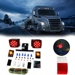 2x Red White Led Submersible Sq Trailer Stop License Tail Brake Lights Under 80