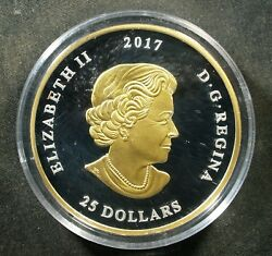 2017 Canada 25 1 Oz Proof Silver Gilt - Great Seal Of Canada - 6000 Minted