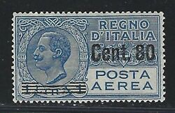 1929 Italy Scott C11 - 80c On 1 Lira Surcharged Air Mail Stamp - Mnh