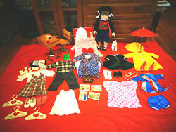 American Girl Molly Doll Lot Clothing Outfits Bed School Desk Raincoat Pjs Robe