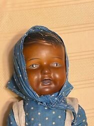 1930s Composition Black Doll 16 Tall