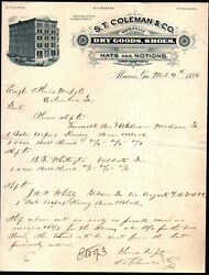 1886 Macon Ga - S T Coleman And Co - Shoes Hats Notions - Rare Letter Head History