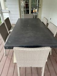 Restoration Hardware 7 Pc Outdoor Dining Set. Stone Top And Resin Wicker Chairs