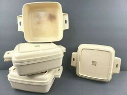 Littonware Microwave 7 Pc Square Bowl Lid Casserole Cookware Dishes Vintage Lot