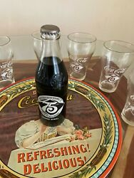 Vintage Coca-cola 75th Anniversary Glasses 1902-1977 Set Of 6/coke Tray And Bottle