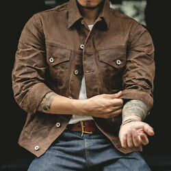 Menand039s Oil Waxed Canvas Jacket Motorcycle Vintage Slim Work Overalls Casual Coats