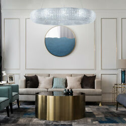 Chandeliers Iron Ceiling Tray Round Crystal Beaded Lampshade Living Room Hotel