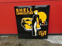 Shell Lubrication Full Service Gas And Oil Porcelain Enamel Sign 23.5 X 21.5 Inch