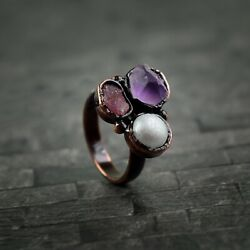 Natural Amethyst Tourmaline And Pearl Gemstone Beautiful Antique Women Rings