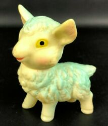 Vintage Rubber Squeaky Toy Japan Lamb Sheep Baby Toy Figurine Squeak Blue 3