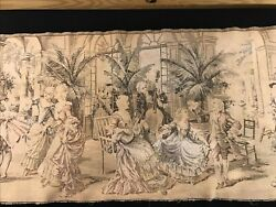 """Antique tapestry Belgium Salon courting scenes early 1800s 18quot;x 53"""" Cotton"""
