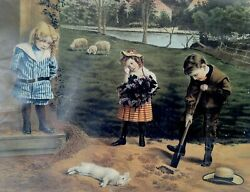 1900and039s Three Children Burying A Dead Rabbit Fritz W Guerin Print Very Compelling