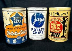Vintage 1940's 50s Blue Star Jays New Era Potato Chip Old Tin Can Sign Nice Ones