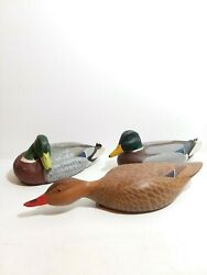 Very Rare One Of A Kind Vintage Carved Wood Duck Decoy Set