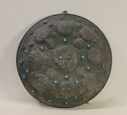 Brass Antique Middle Eastern Or Hindu Dahl Style Shield With Blue Glass Accents