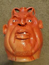 Mb Marvin Bailey Red Devil Face Jug Southern Folk Art Pottery Hand Signed Auto