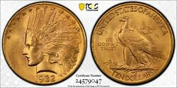 1932 Gold United States 10 Indian Head Eagle Coin Pcgs Mint State 64