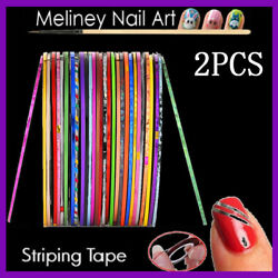 2pcs1mm Striping Tape Nail Art Lines Manicure Stickers Decoration Dispenser Tool