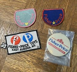Rare Vintage Fisher Price Pull Toys Employee Patches And Pin