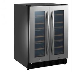 Insignia 42 Bottle 128 Can Dual Zone Wine And Beverage Cooler Stainless Steel