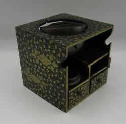 Antique 19th C. Japanese Lacquer Tobacco Storage Box Drawers Bronze Lid