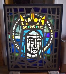 Older 1960s Thick Chunk Glass Stained Glass Window In Light Box - Mary Cu1017