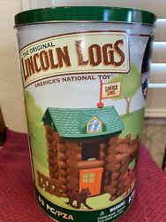 The Orginal Lincoln Logs New Hasbro Tin Box 83 Pieces K'nex Toy Fort Red Pine